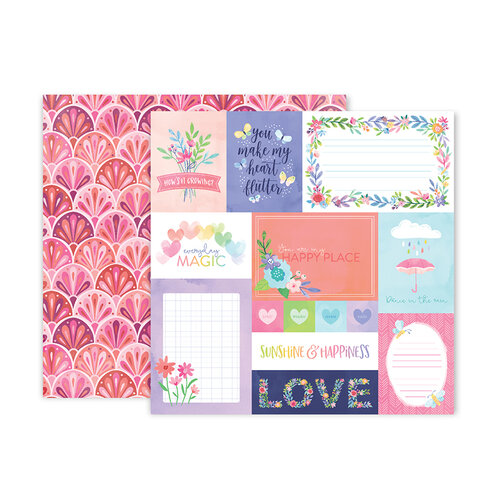 Pink Paislee - Bloom Street Collection - 12 x 12 Double Sided Paper - Paper 1