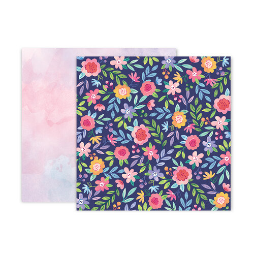 Pink Paislee - Bloom Street Collection - 12 x 12 Double Sided Paper - Paper 2