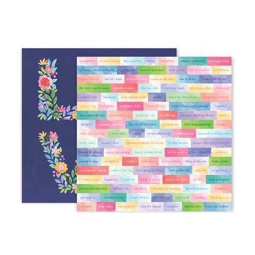 Pink Paislee - Bloom Street Collection - 12 x 12 Double Sided Paper - Paper 13