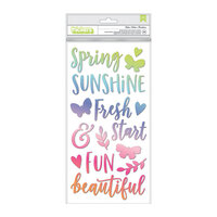 Pink Paislee - Bloom Street Collection - Thickers - Flutter - Phrase - Puffy Vinyl Stickers