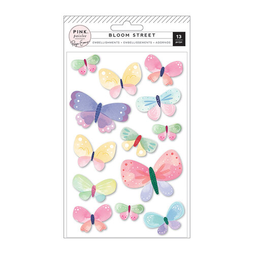 Pink Paislee - Bloom Street Collection - Dimensional Butterflies Stickers with Iridescent Foil Accents