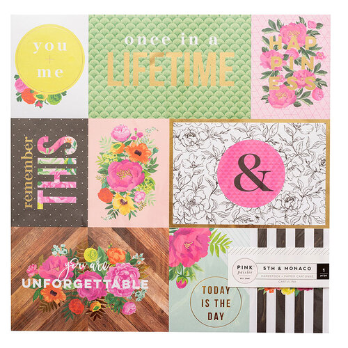 Pink Paislee - 5th and Monaco Collection - 12 x 12 Specialty Paper with Gold Foil Accents