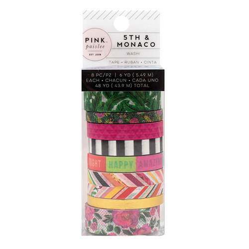 Pink Paislee - 5th and Monaco Collection - Washi Tape with Gold Foil Accents