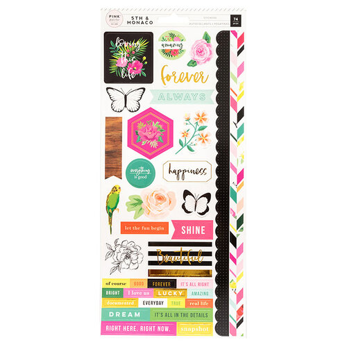 Pink Paislee - 5th and Monaco Collection - Cardstock Stickers with Gold Foil Accents