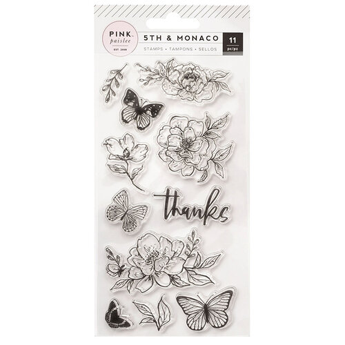Pink Paislee - 5th and Monaco Collection - Clear Acrylic Stamps