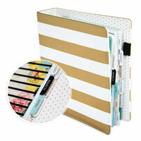 Heidi Swapp - Memory Planner - Planner - Large - Gold Foil - Stripes - Undated