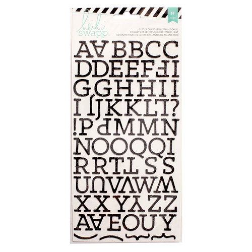 Heidi Swapp - Glitter Chipboard Stickers - Alphabet - Black