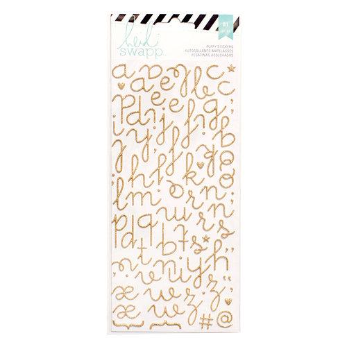 Heidi Swapp - Glitter Puffy Stickers - Alphabet - Gold