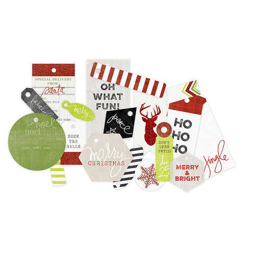 Heidi Swapp - Oh What Fun Collection - Christmas - Glitter Tags