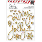 Heidi Swapp - Oh What Fun Collection - Christmas - Glitter Stickers - Buzz Words