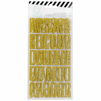 Heidi Swapp - Magnolia Jane Collection - Cardstock Stickers with Glitter Accents - Alphabet - Gold