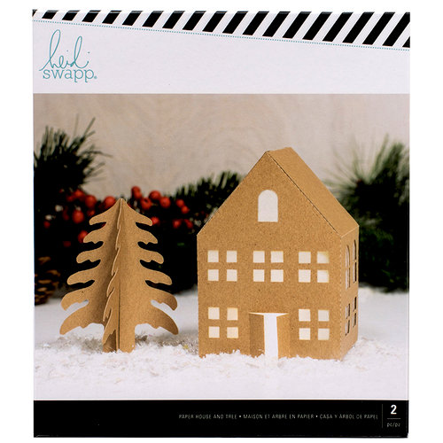 Heidi Swapp - Home for the Holidays Collection - Christmas - Large Kraft House