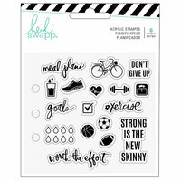 Heidi Swapp - Fresh Start Collection - Memory Planner - Clear Acrylic Stamps - Exercise