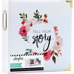 Heidi Swapp - Storyline 2 Collection - 8.5 x 11 D-Ring Album - White Floral