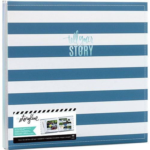 Heidi Swapp - Storyline 2 Collection - 12 x 12 Post Bound Album - Blue Stripe