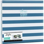 Heidi Swapp - Storyline 2 Collection - 12 x 12 Post Bound Album - Blue Stripe