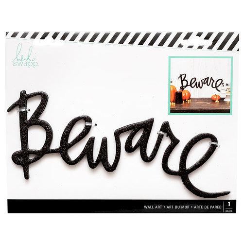 Heidi Swapp - Halloween - Chipboard Wall Words - Beware - Black Glitter
