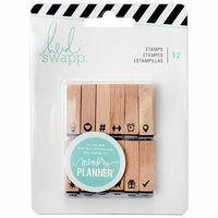 Heidi Swapp - Memory Planner - Wood Stamps - Icons