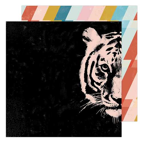 Heidi Swapp - Old School Collection - 12 x 12 Double Sided Paper - Hey Tiger