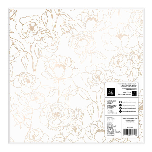Heidi Swapp - Care Free Collection - 12 x 12 Specialty Paper - Champagne Foiled Vellum