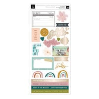 Heidi Swapp - Care Free Collection - 6 x 12 Cardstock Sticker Sheet - Champagne Foil Accents