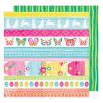American Crafts - Hello Spring Collection - 12 x 12 Double Sided Paper - Bonny Bunny