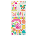 American Crafts - Hello Spring Collection - Cardstock Stickers with Glitter Accents - Accents and Phrases