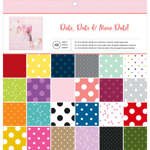 American Crafts - 12 x 12 Paper Pad - Dots Dots and More Dots