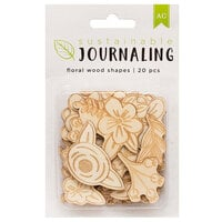 American Crafts - Sustainable Journaling Collection - Wood Embellishments - Floral