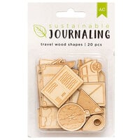 American Crafts - Sustainable Journaling Collection - Wood Embellishments - Travel