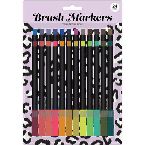 American Crafts - Brush Markers - Fine - Lilac Leopard