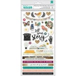 American Crafts - Storyteller Collection - Thickers - Chipboard with Foil Accents - Phrase and Words - Tell Your Story
