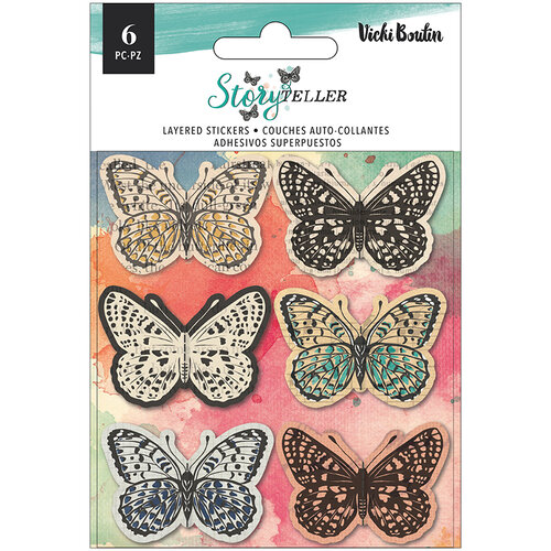 American Crafts - Storyteller Collection - Stickers - Matte Vellum - Layered Butterflies