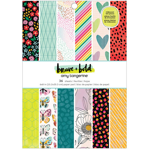 Amy Tangerine - Brave and Bold Collection - 6 x 8 Paper Pad - Iridescent Foil Accents