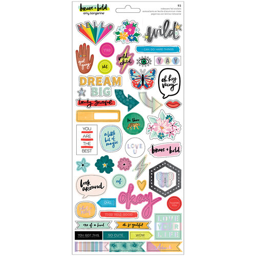 Amy Tangerine - Brave and Bold Collection - 6 x 12 Cardstock Sticker Sheet - Iridescent Foil Accents