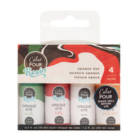American Crafts - Color Pour Resin Collection - Opaque Dye Set - Holiday - 4 Pack