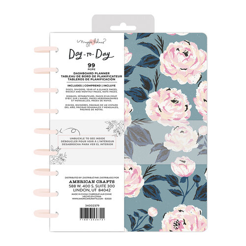 Maggie Holmes - Day to Day Planner Collection - Dashboard Disc Planner - Blue and Pink Rose