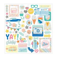 Obed Marshall - Buenos Dias Collection - 12 x 12 Chipboard Stickers - Holographic Glitter Accent