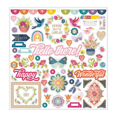 Paige Evans - Wonders Collection - 12 x 12 Chipboard Stickers - Gold Foil Accent