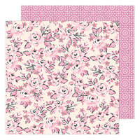Maggie Holmes - Garden Party Collection - 12 x 12 Double Sided Paper - Pink Rose Buds