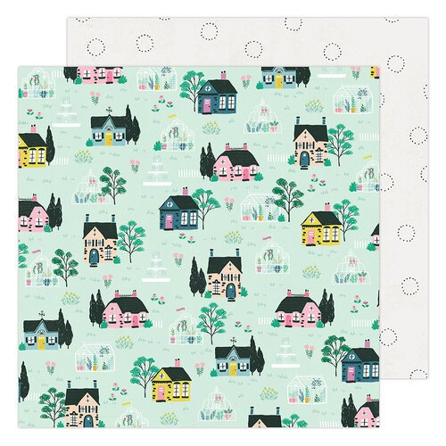 Maggie Holmes - Garden Party Collection - 12 x 12 Double Sided Paper - Cottages and Green Houses