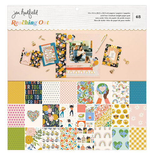 Jen Hadfield - Reaching Out Collection - 12 x 12 Paper Pad - Gold Foil Accents
