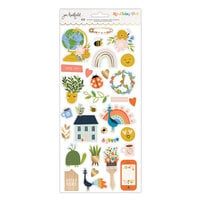 American Crafts - Reaching Out Collection - 6 x 12 Sticker Sheet - Gold Foil Accents
