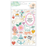 American Crafts - Creative Devotion Draw Near Collection - Sticker Book - Gold Foil Accents