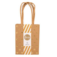American Crafts - Fancy That Collection - Mini Gift Bags - Kraft and White - Gold Foil Polka Dots - 4 Pack