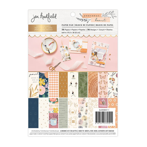 Jen Hadfield - Peaceful Heart Collection - 6 x 8 Paper Pad with Gold Foil Accents