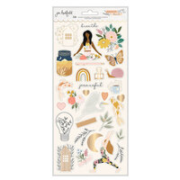 Jen Hadfield - Peaceful Heart Collection - 6 x 12 Cardstock Stickers With Gold Foil Accents