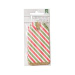 American Crafts - All Wrapped Up Collection - Christmas - Striped Tags with Glitter Accents