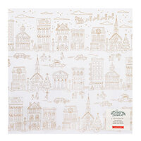 Crate Paper - Busy Sidewalks Collection - Christmas - 12 x 12 Specialty Paper - Acetate with Gold Foil Accents