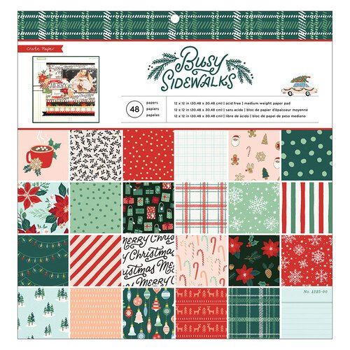 Crate Paper - Busy Sidewalks Collection - Christmas - 12 x 12 Paper Pad
